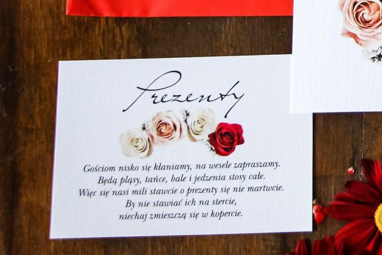 Bilecik do zaproszeń ślubnych. Grafika z kremowymi i bordowymi różami