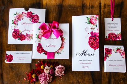 Zestaw próbkowy zaproszeń ślubnych w etui - Malowane Kwiaty nr 30
