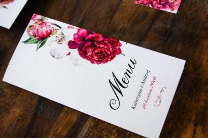 Menu ślubne, weselne - Grafika z różowymi i amarantowymi piwoniami. Odcienie mocnego różu