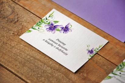 Bilecik do zaproszenia 105 x 74 mm prezenty ślubne wesele - Akwarele nr 7 - Fioletowe fiołki