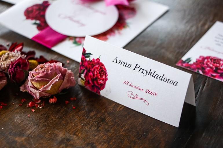 Winietki ślubne - Grafika z różowymi i amarantowymi piwoniami. Odcienie mocnego różu