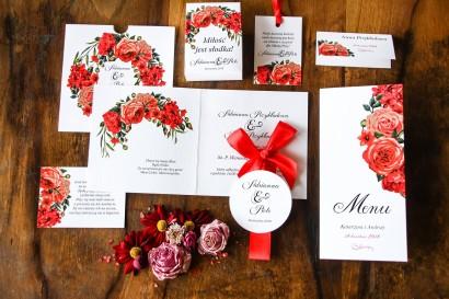 Zaproszenia ślubne w etui z bordowymi, czerwonymi kwiatami - Zaproszenia Malowane Kwiaty nr 31