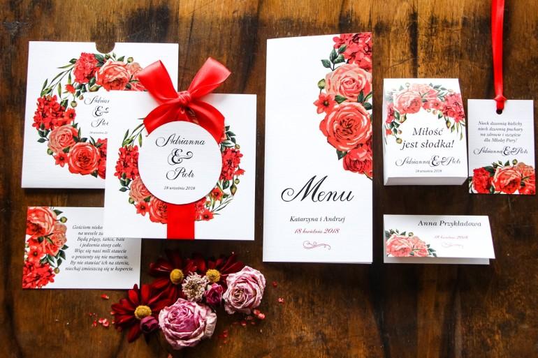 Zestaw próbny zaproszeń ślubnych w etui - Malowane Kwiaty nr 31