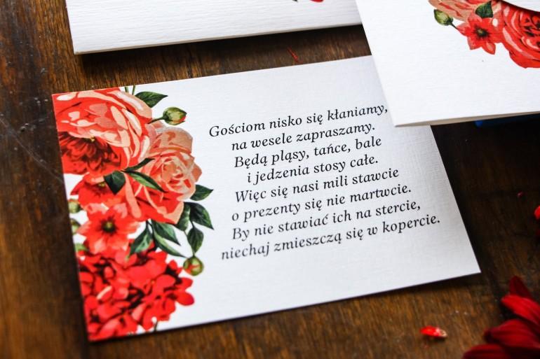 Bilecik do zaproszeń ślubnych. Grafika z bordowymi, czerwonymi kwiatami