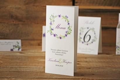 Menu weselne, stół weselny - Akwarele nr 7 - Delikatne fioletowe fiołki