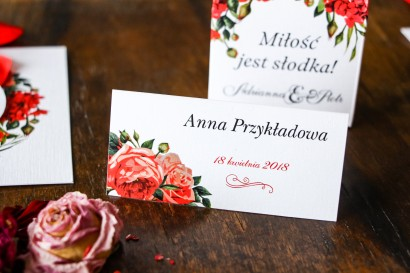 Winietki ślubne - Grafika z bordowymi, czerwonymi kwiatami