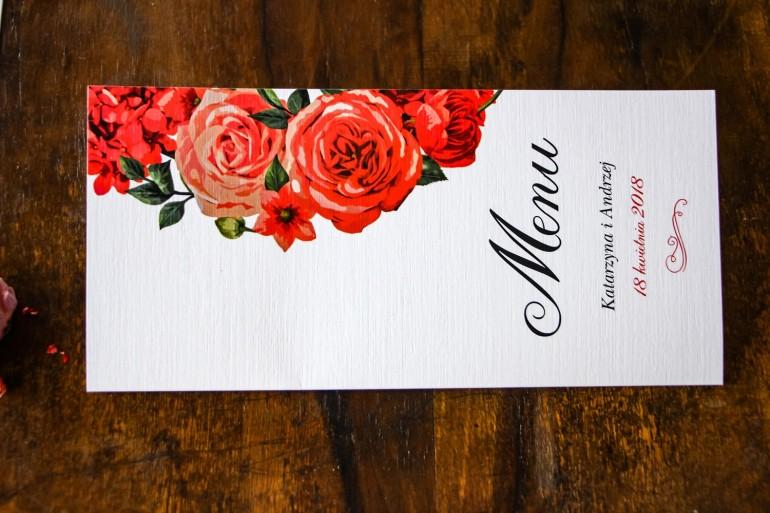 Menu ślubne, weselne - Grafika z bordowymi, czerwonymi kwiatami