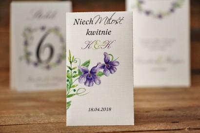 Podziękowania dla Gości weselnych - nasiona Niezapominajki - Akwarele nr 7 - Fioletowe fiołki