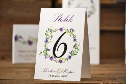 Numery stolików, stół weselny, ślub - Akwarele nr 7 - Delikatne fioletowe fiołki