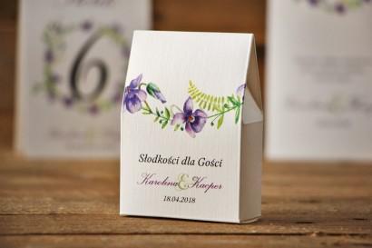 Pudełeczko stojące na cukierki, podziękowania dla Gości weselnych - Akwarele nr 7 - Delikatne fioletowe fiołki