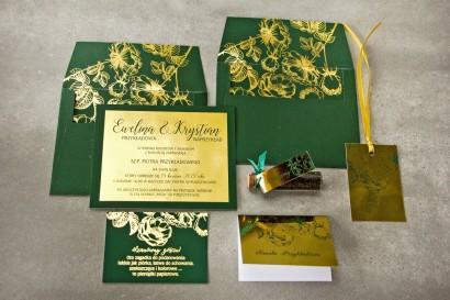 Zestaw próbny złotych zaproszeń ślubnych w stylu Glamour nr 3