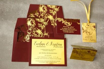 Zestaw próbny złotych zaproszeń ślubnych w stylu Glamour nr 4