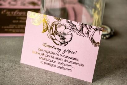 Różowy bilecik do zaproszeń ślubnych w stylu Glamour ze złoceniem grafiki róż