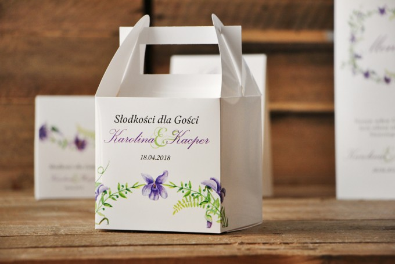 Pudełko na ciasto kwadratowe, tort weselny - Akwarele nr 7 - Fioletowe fiołki