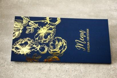 Granatowe Menu Weselne w stylu Glamour ze złoceniem grafiki róż