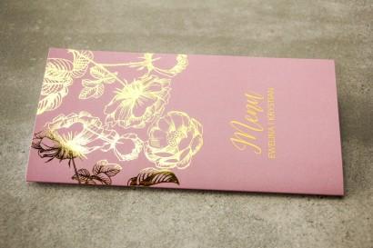 Różowe Menu Weselne w stylu Glamour ze złoceniem grafiki róż