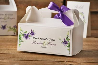 Prostokątne pudełko na ciasto, tort weselny, ślub - Akwarele nr 7 - Fioletowe fiołki