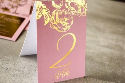 Różowe Numery stolików w stylu Glamour ze złoceniem grafiki róż