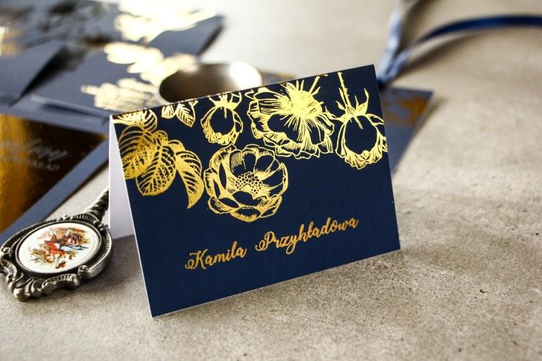 Granatowe Winietki Ślubne w stylu Glamour ze złoceniem grafiki róż