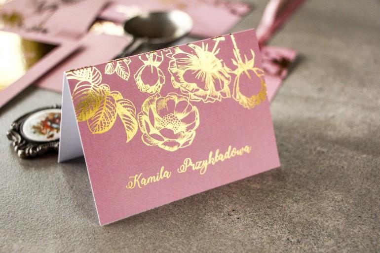 Różowe Winietki Ślubne w stylu Glamour ze złoceniem grafiki róż
