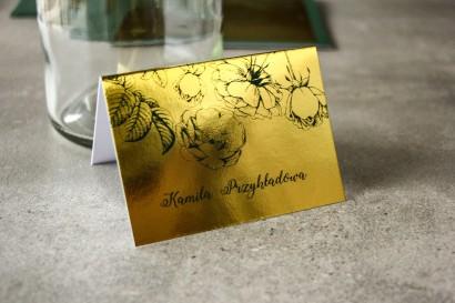 Złote Winietki Ślubne w stylu Glamour z zieloną grafiką róż