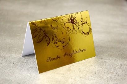Złote Winietki Ślubne w stylu Glamour z bordową grafiką róż