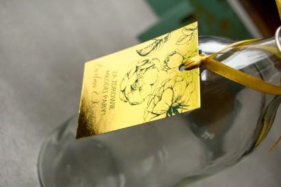 Złote zawieszki na butelki weselne w stylu Glamour z zieloną grafiką róż