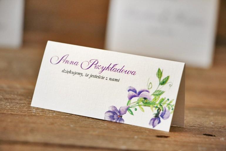 Winietki na stół weselny, ślub - Akwarele nr 7 - Fioletowe fiołki