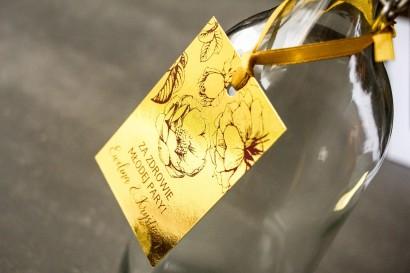 Złote zawieszki na butelki weselne w stylu Glamour z bordową grafiką róż