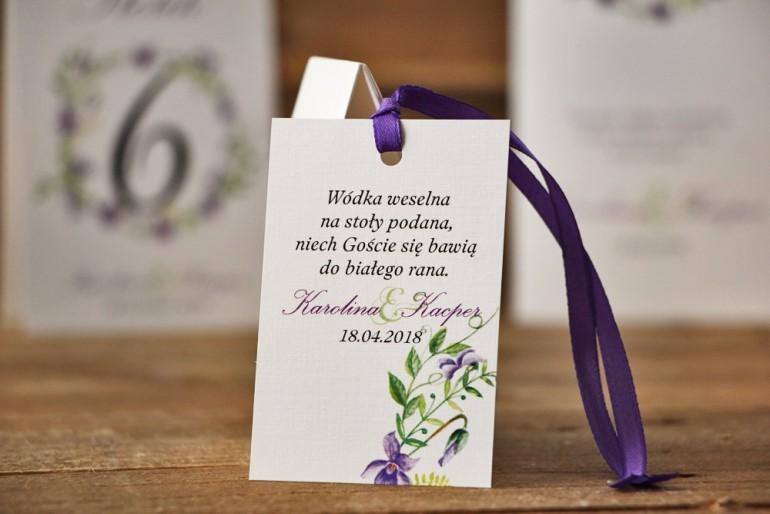 Zawieszka na butelkę, wódka weselna, ślub - Akwarele nr 7 - Fioletowe delikatne fiołki