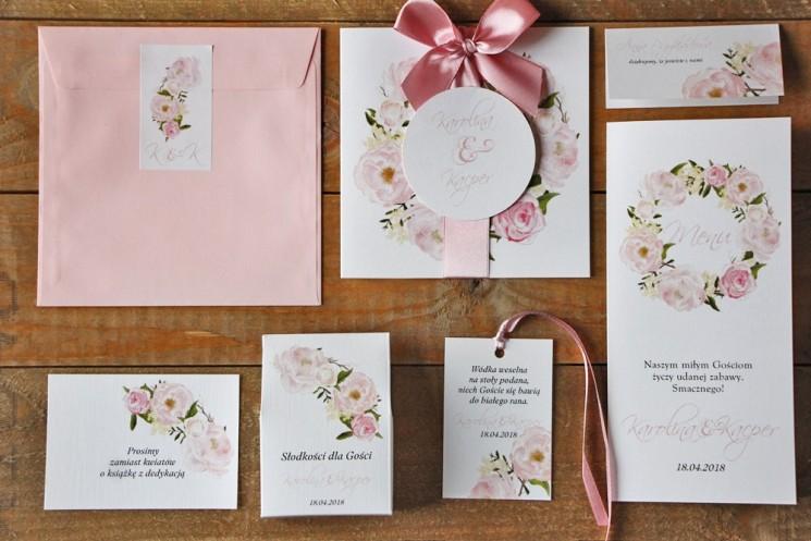 Zaproszenie ślubne z dodatkami - Akwarele nr 8 - Pudrowe peonie