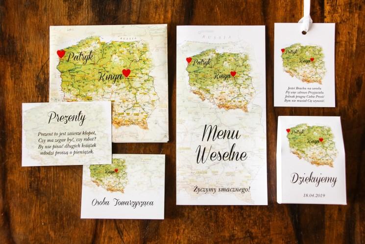 Zaproszenia ślubne z mapą Polski dla Par, które pochodzą z innych miast, dla podróżników