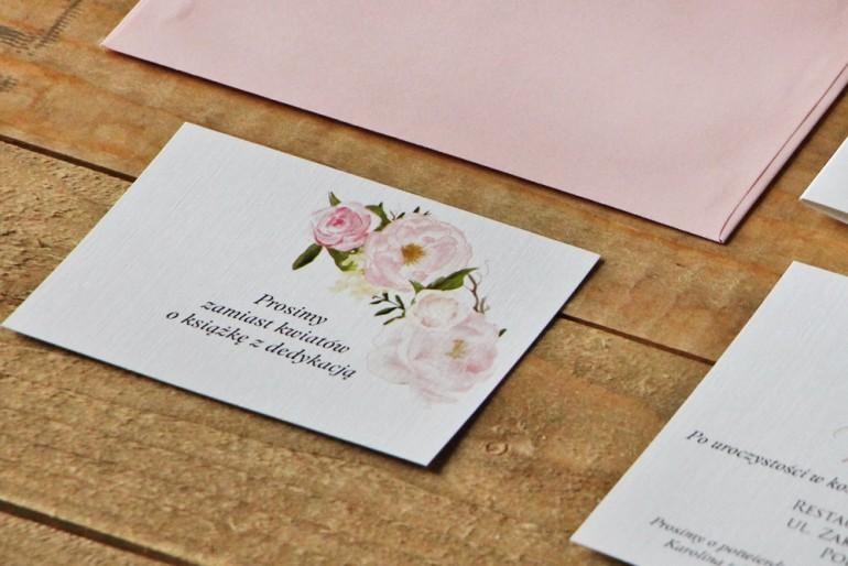 Bilecik do zaproszenia 105 x 74 mm prezenty ślubne wesele - Akwarele nr 8 - Pudrowe piwonie