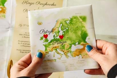 Zaproszenia ślubne z mapą Europy dla Par, które pochodzą z innych krajów
