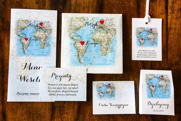 Zaproszenia ślubne z mapą Świata dla Par, które pochodzą z innych krajów
