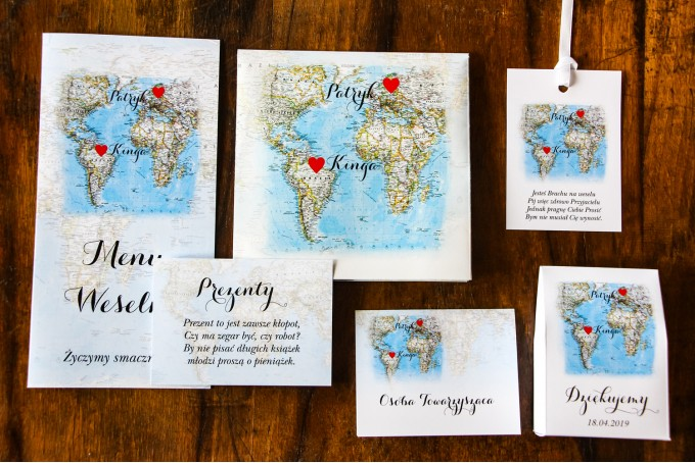 Zestaw próbny zaproszeń ślubnych Mapa Uczuć nr 3