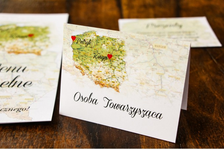 Winietki ślubne z z mapą Polski dla par pochodzących z różnych miast