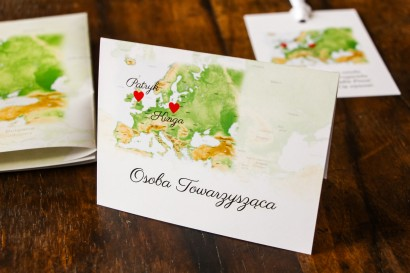 Winietki ślubne z mapą Europy dla par pochodzących z różnych krajów