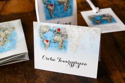 Winietki ślubne z mapą Świata dla par pochodzących z różnych krajów