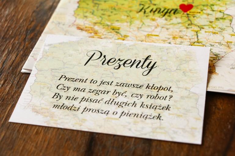 Bilecik do zaproszeń ślubnych z mapą Polski, dla par pochodzących z różnych miast