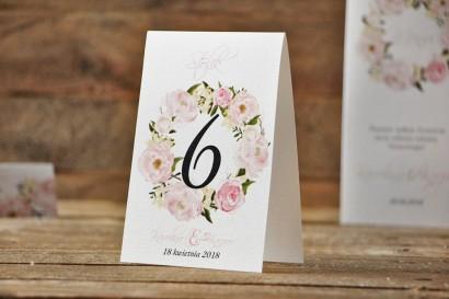 Numery stolików, stół weselny, ślub - Akwarele nr 8 - Pastelowe piwonie