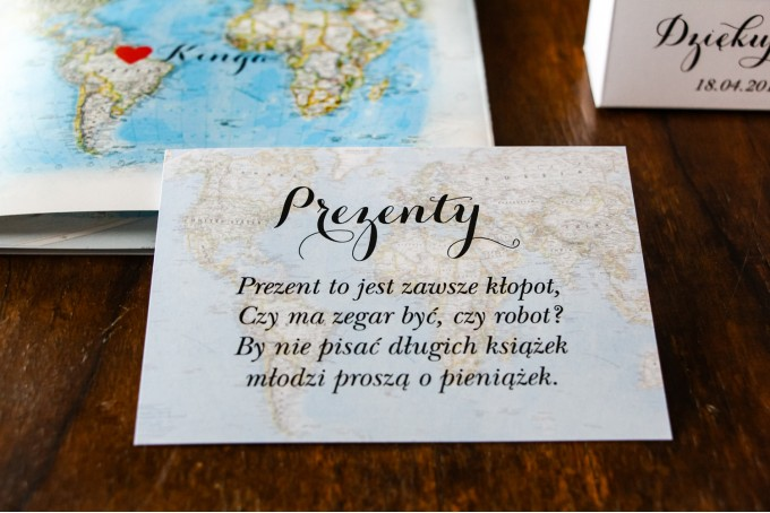 Bilecik do zaproszeń ślubnych z mapą Świata, dla par pochodzących z różnych krajów