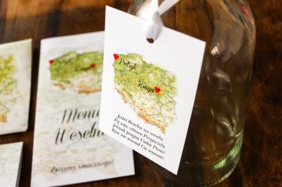 Zawieszki na butelki weselne z mapą Polski dla par pochodzących z różnych miast