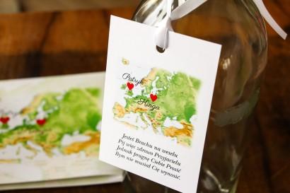Zawieszki na butelki weselne z mapą Europy dla par pochodzących z różnych krajów