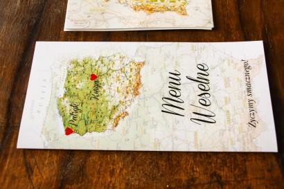 Menu ślubne z mapą Polski dla par pochodzących z różnych miast