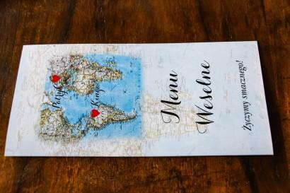 Menu weselne z mapą Świata dla par pochodzących z różnych krajów