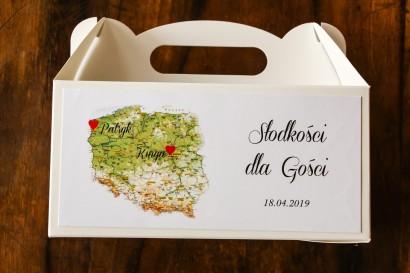 Podziękowanie dla gości weselnych, prostokątne pudełka na ciasto z mapą Polski