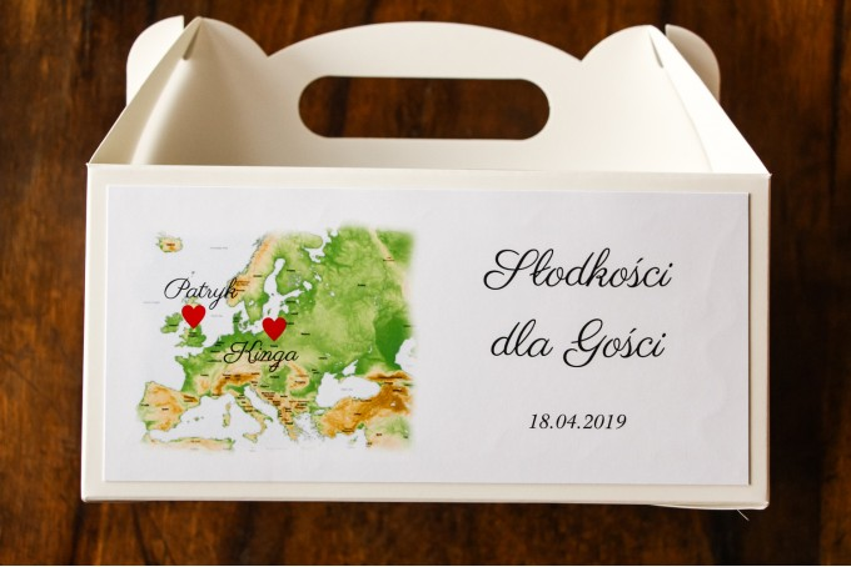 Podziękowanie dla gości weselnych, prostokątne pudełka na ciasto z mapą Europy