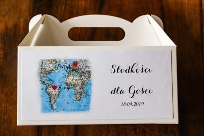 Podziękowanie dla gości weselnych, prostokątne pudełka na ciasto z mapą Świata