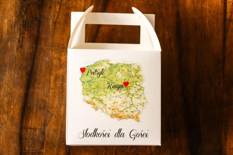 Podziękowania dla gości weselnych. Kwadratowe pudełko na Ciasto z mapą Polski